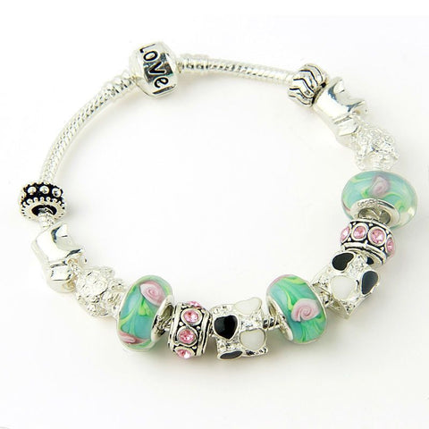 European Style 925 Silver Charm Bracelet Bangle for Women with Murano Glass Beads