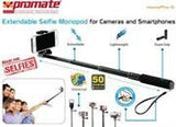 Promate Monopro-5 Extendable Selfie Monopod for Cameras and Smartphones Colour:Black - Zasttra.com