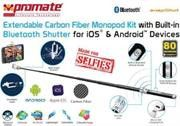 Promate Snapshot Extendable Monopod Kit with Built-in Bluetooth Shutter For iOS & Android devices