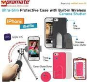 Promate selfieCase-i5 Ultra-Slim Protective case with Built-in Wireless Camera Shutter - Black