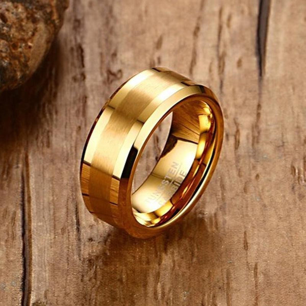 bc8a27f97b Mens Rings : 8MM Tungsten Carbide Gold-Color Ring