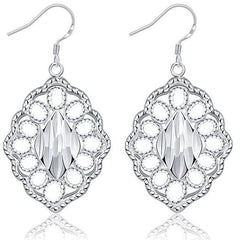 925 Sterling Silver filled Ladies Dangle earrings with inner detail work