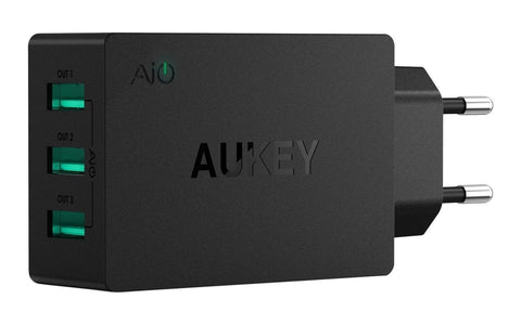 PA-U35 Aukey 3 Port 30W USB Wall Charger with Ai Power Smart Charging (Black)