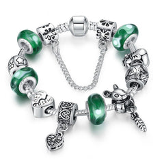 European Style 925 Silver Bracelet With Friendship Charm Murano Bead - Green