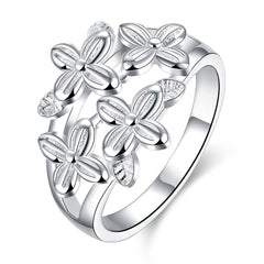 925 Sterling Silver filled Elegant ladies Multi flower ring with fine detail work
