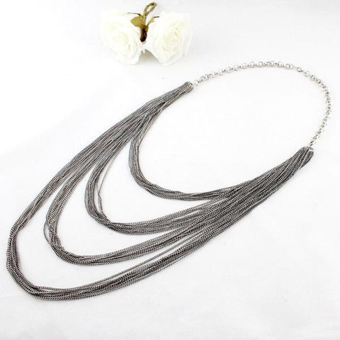 Multi-layers Waterfall Long Tassel Chains Necklace