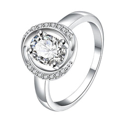 925 Sterling silver filled 2ct Crystal Engagement style ring circle design