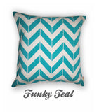 Chevron Funky Teal Cushion Cover