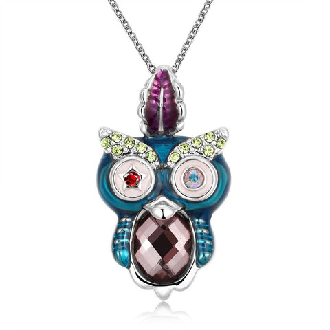 Unique ladies Owl pendant with multi colored details Comes with FREE chain