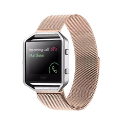 For Fitbit Blaze Watch Loop Magnetic Closure Clasp Stainless Steel Watchband(Rose Gold)