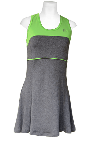 40LUV Aneleh tennis dress - Grey and Lime Green - 13/14