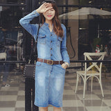 Women's Lovely Sky Blue V-Neck Solid Denim Knee-Length Long Sleeve Straight Dress