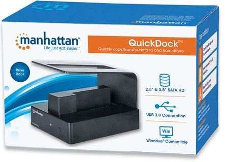 Manhattan QuickDockǽ¶? SuperSpeed USB 3.0-Transfer rates: up to 5 Gbps-Single insertion slots accepts 3.5 inch  and 2.5 inch  SATA high-capacity hard-disk