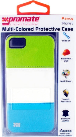 Promate Pancy iPhone 5 Multi-Colored Protective Case Colour: Green/White/Blue
