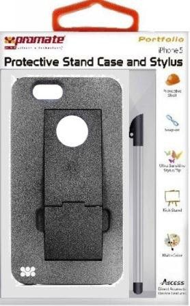 Promate Portfolio iPhone 5 Snap-on design Protective Stand Case and Stylus for iPhone 5 / 5s-Grey