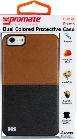 Promate Lunet iPhone 5 Durable case with a cut-out design Colour: Brown / Black