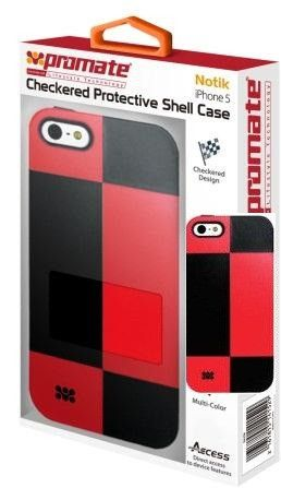 Promate Notik iPhone 5 Checkered Protective Shell Cover Colour: Red /Black Fashionably aimed
