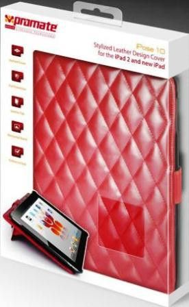 Promate iPose.10-Stylized Leather Design Cover for the iPad 2 and new iPad-Red