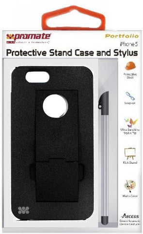 Promate Portfolio iPhone 5 Snap-on design Protective Stand Case and Stylus for iPhone 5 / 5s-Black