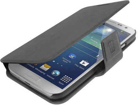 Promate Zimba-S4 Premium Book-Style Flip Leather Case with Card Insert for Samsung Galaxy S4-Greyck Retail Box 1 Year Warranty