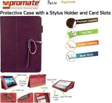 Promate Agenda Premium Protective Leather Case with Stylus Holder and Card Slot for iPad Air-Purple