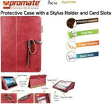 Promate Agenda Premium Protective Leather Case with Stylus Holder and Card Slot for iPad Air-Red - Zasttra.com