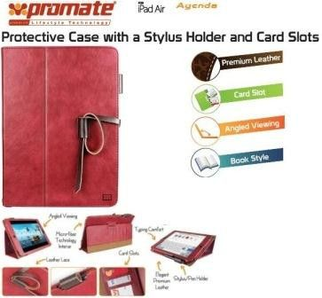 Promate Agenda Premium Protective Leather Case with Stylus Holder and Card Slot for iPad Air-Red