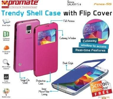 Promate Fenes S5 Bookcover with window Colour:Pink