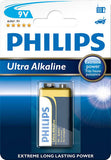 Philips Ultra Alkaline 6LR61E1B 9V / PP3 Battery Pack of 1 - 550mAh Capacity