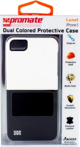 Promate Lunet iPhone 5 Durable case with a cut-out design Colour: White / Black