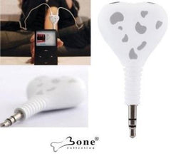 Bone Collection Share-Connect 2 headphones to 1 audio source-3.5mm mini-stereo plugs-sharing your favourite music with your friends and love ones-White