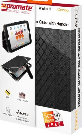 Promate Donna-Slim-line leather case with carrying handle for iPad mini-Black Retail Box 1 Year Warranty
