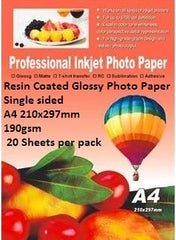 E-Box Resin Coated Glossy Photo Paper-Single sided A4 210x297mm-190gsm- 20 Sheets per pack