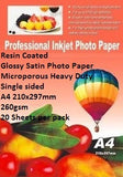 E-Box Resin Coated Glossy Satin Photo Paper- Microporous Heavy Duty Single sided A4 210x297mm-260gsm-20 Sheets per pack