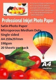 E-Box Satin Photo Paper- Microporous Coated Medium Duty- Single sided A4 210x297mm-190gsm-20 Sheets per pack