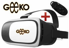 Geeko VR-Box Virtual Reality 3D Glasses with Mini Bluetooth Remote Controller - Supported: Android & iOS smartphone