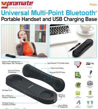 Promate Pulse Universal Multi-Point Bluetooth¶© Portable Handset and USB Charging Base