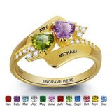 Gold Over Sterling Silver - Swirl Twin Heart Stone Ring - Name Engraving & Stone Color - Zasttra.com - 1