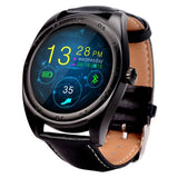 K89 Classic Watch Design Leather Band Bluetooth 4.0 Heart Rate Smart Watch Pedometer / Sedentary Reminder / Sleep Monitor / Remote Capture / Anti-lost (Black)