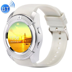 V8 1.22 inch Touch Screen 2G Calling Bluetooth Smart Watch with 0.3MP Camera Support Pedometer / Music Player / Sleep Monitoring / Remote Capture / Anti-lost Function / TF Card(White)