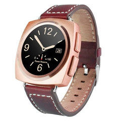 A11 Leather Strap Bluetooth Smart Watch Heart Rate / Pedometer / Sleep Monitor / Sedentary Reminder / Camera Remote Control(Rose Gold)