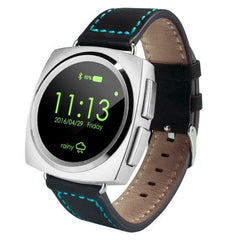 A11 Leather Strap Bluetooth Smart Watch Heart Rate / Pedometer / Sleep Monitor / Sedentary Reminder / Camera Remote Control(Silver)