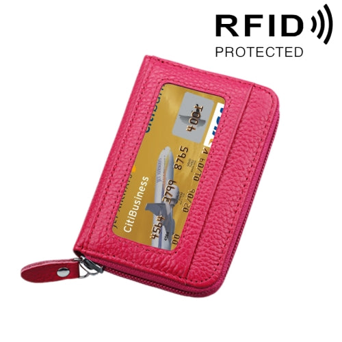 Genuine Cowhide Leather Solid Color Zipper Horizontal Card Holder Wallet  RFID Blocking Card Bag Protect Case with 12 Card Slots Size: