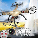 SYMA X8HW 4-Channel 2.4GHz Radio Control Quadcopter with 0.3MP WiFi Camera & 6-axis Gyro & LED Light(Gold)