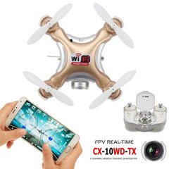 CX-10WD-TX Mini WiFi 360 Degree Flip 4-Channel 2.4GHz Radio Control Quadcopter with 0.3MP Camera & 6-axis Gyro & LED Light & Remote Control(Gold)
