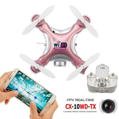 CX-10WD-TX Mini WiFi 360 Degree Flip 4-Channel 2.4GHz Radio Control Quadcopter with 0.3MP Camera & 6-axis Gyro & LED Light & Remote Control(Rose Gold)