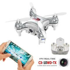 CX-10WD-TX Mini WiFi 360 Degree Flip 4-Channel 2.4GHz Radio Control Quadcopter with 0.3MP Camera & 6-axis Gyro & LED Light & Remote Control(Silver)