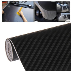 Car Decorative 3D Carbon Fiber PVC Sticker Size: 152cm x 50cm(Black)