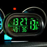 VST-7009V 4 In 1 Digital Car Thermometer Voltage Meter Luminous Clock Tester Detector LCD Monitor Back light