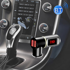 BC08 Dual USB Car Charger Bluetooth FM Transmitter Kit Support LCD Display / Hands-free (Black)